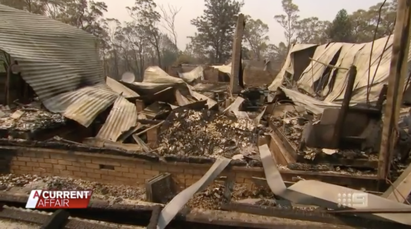 A burnt down home south of Sydney is pictured.