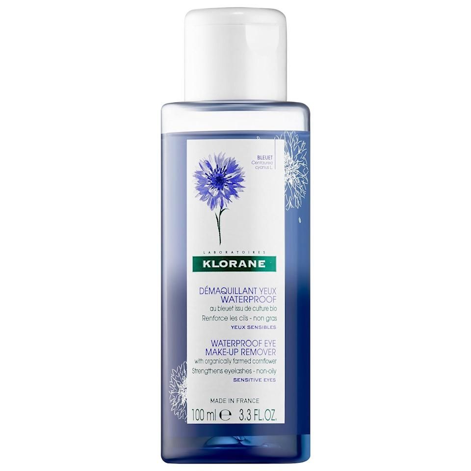 <p>The super delicate <span>Klorane Waterproof Eye Make-Up Remover with Soothing Cornflower</span> ($16) dissolves even the most stubborn makeup and contains conditioners to strengthen your eyelashes. </p>