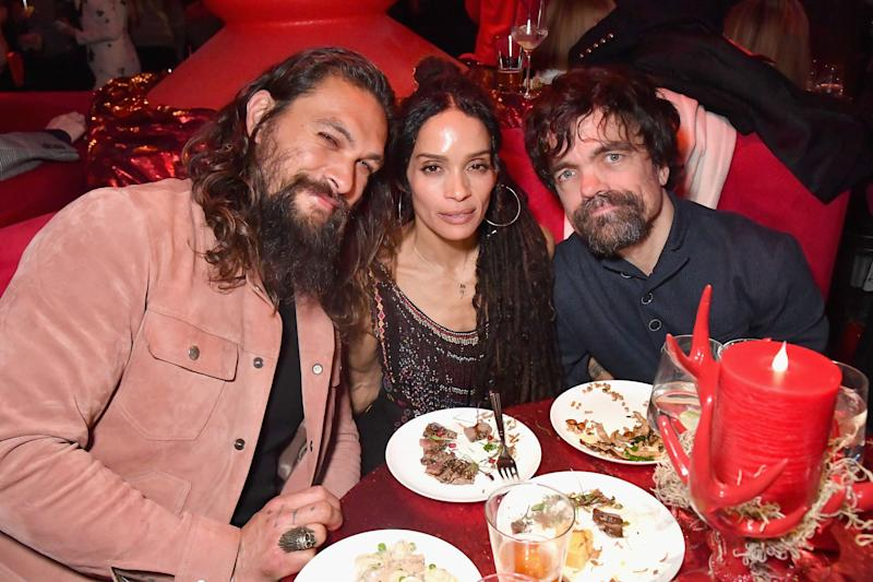"Jason Momoa, Lisa Bonet and Peter Dinklage attend the ""Game Of Thrones"" Season 8 premiere after-party in New York in April. (Photo: Jeff Kravitz via Getty Images)"