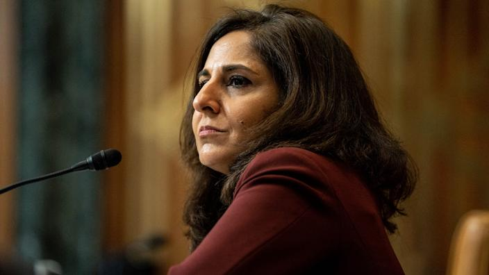 Neera Tanden, director of the Office and Management and Budget (OMB) nominee for U.S. President Joe Biden, appears before a Senate Budget Committee confirmation hearing in Washington, D.C., U.S., on Wednesday, Feb. 10, 2021. (Anna Moneymaker/The New York Times/Bloomberg via Getty Images)