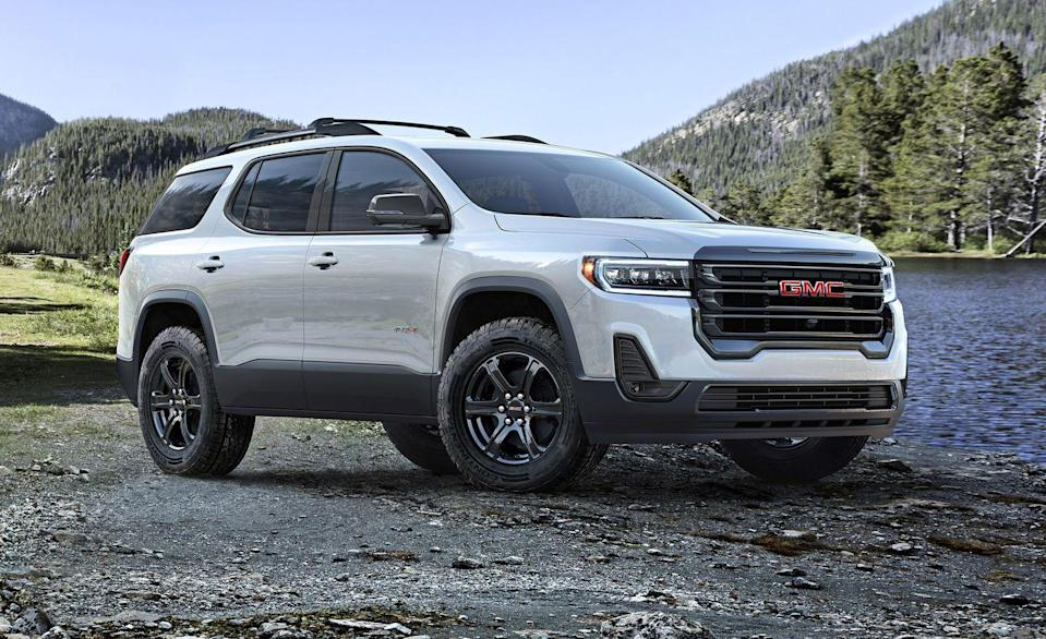 "<p>No, this isn't one of those crazy renderings we commission for cars and trucks that aren't out yet, this is real life. The <a href=""https://www.caranddriver.com/gmc/acadia"" rel=""nofollow noopener"" target=""_blank"" data-ylk=""slk:GMC Acadia"" class=""link rapid-noclick-resp"">GMC Acadia</a> AT4 exists, for someone out there that wanted to go drive their Acadia into a lake. The AT4 trim is mostly cosmetic, as it doesn't actually add any special suspension or terrain parts above your average Acadia. Dark 17-inch wheels with all-terrain tires and all-wheel drive make it look cool. A 310-hp 3.6-liter V-6 is the only powertrain, but on lesser Acadias a new-for-2020 turbocharged 2.0-liter inline-four good for 230 horsepower, as well as the entry-level 193-hp 2.5-liter four are available. The Acadia AT4 starts at a rocky $42,295.</p>"
