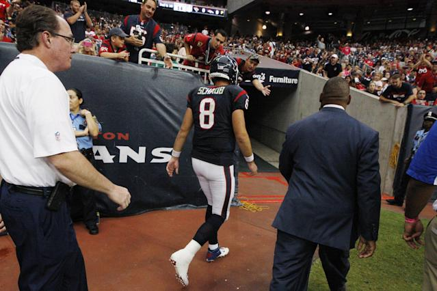 Houston Texans' Matt Schaub (8) leaves the field during the fourth quarter of an NFL football game against the St. Louis Rams Sunday, Oct. 13, 2013, in Houston, Texas. Schaub was injured in the third quarter. The Rams defeated the Texans 38-13. (AP Photo/Patric Schneider)