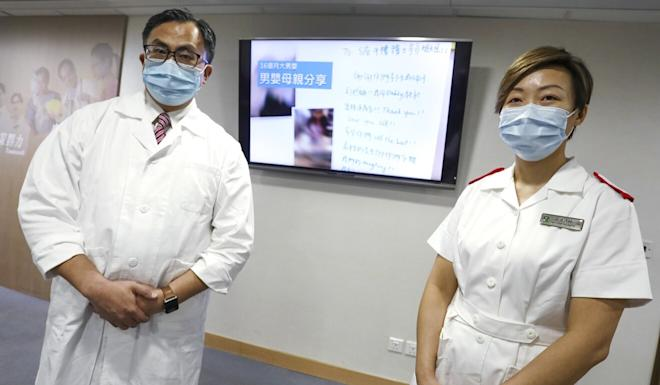 Dr Mike Kwan (left) and nurse Chan Ying-fei at the Hospital Authority Building. Photo: Jonathan Wong