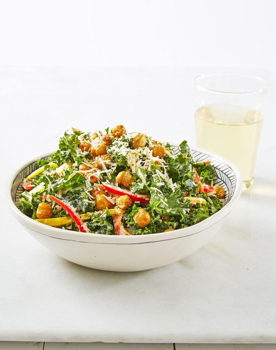 """<p>Proof that crispy, roasted chickpeas totally trump old-school croutons.</p><p><em><a href=""""https://www.goodhousekeeping.com/food-recipes/a38876/crunchy-chickpea-kale-caesar-recipe/"""" rel=""""nofollow noopener"""" target=""""_blank"""" data-ylk=""""slk:Get the recipe for Crunchy Chickpea Kale Caesar »"""" class=""""link rapid-noclick-resp"""">Get the recipe for Crunchy Chickpea Kale Caesar »</a></em></p>"""