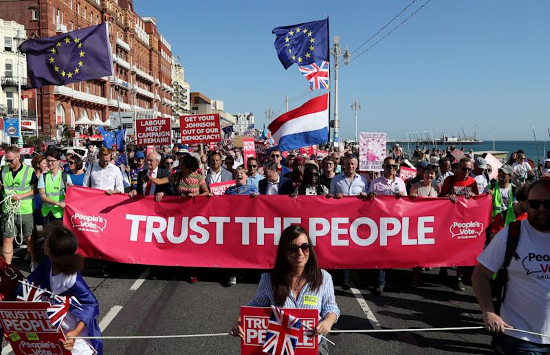 Shadow Foreign Secretary Emily Thornberry and Shadow Brexit Secretary Sir Keir Starmer at the Anti-Brexit 'Trust the People' march and rally held by the People�s Vote campaign during the Labour Party Conference in Brighton. PA Photo. Picture date: Saturday September 21, 2019. See PA story LABOUR Main. Photo credit should read: Gareth Fuller/PA Wire (Photo: PA Wire/PA Images)