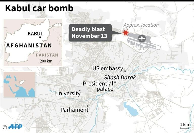 Map of Kabul locating a deadly car bombing November 13 (AFP Photo/)