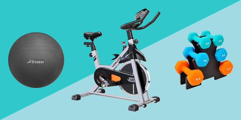 """<p>It's not just you: Home fitness gear has been incredibly hard to find since the <a href=""""https://www.prevention.com/health/a34106117/covid-19-vs-fall-allergies/"""" rel=""""nofollow noopener"""" target=""""_blank"""" data-ylk=""""slk:COVID-19 pandemic"""" class=""""link rapid-noclick-resp"""">COVID-19 pandemic</a> first hit back in March. Gym staples like free weights, <a href=""""https://www.prevention.com/fitness/workouts/g26090328/best-resistance-band-exercises/"""" rel=""""nofollow noopener"""" target=""""_blank"""" data-ylk=""""slk:resistance bands"""" class=""""link rapid-noclick-resp"""">resistance bands</a>, and barbells often get snapped up as soon as they become available—and often for shockingly high prices.</p><p>But we've got great news: Tons of customer-favorite workout gear is now available on Amazon, and some of it is even on sale. We've rounded up the best pieces to buy right now, from exercise bikes to dumbbells, that'll help you build a home gym for less. Let's get active!</p>"""