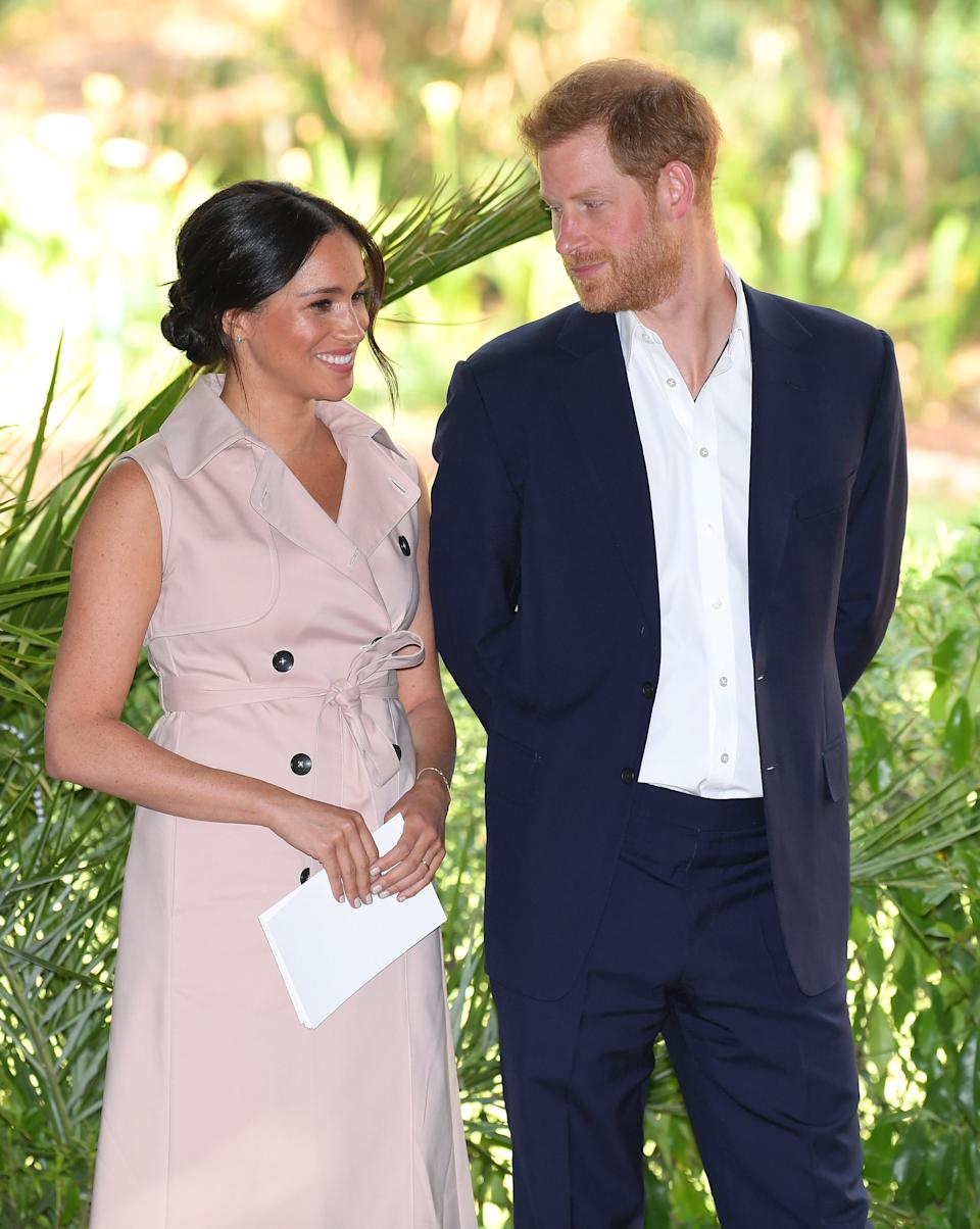 JOHANNESBURG, SOUTH AFRICA - OCTOBER 02: Meghan, Duchess of Sussex and Prince Harry, Duke of Sussex attend a reception to celebrate the UK and South Africa's important business and investment relationship at the High Commissioner's Residence during their royal tour of South Africa on October 02, 2019 in Johannesburg, South Africa. (Photo by Karwai Tang/WireImage)