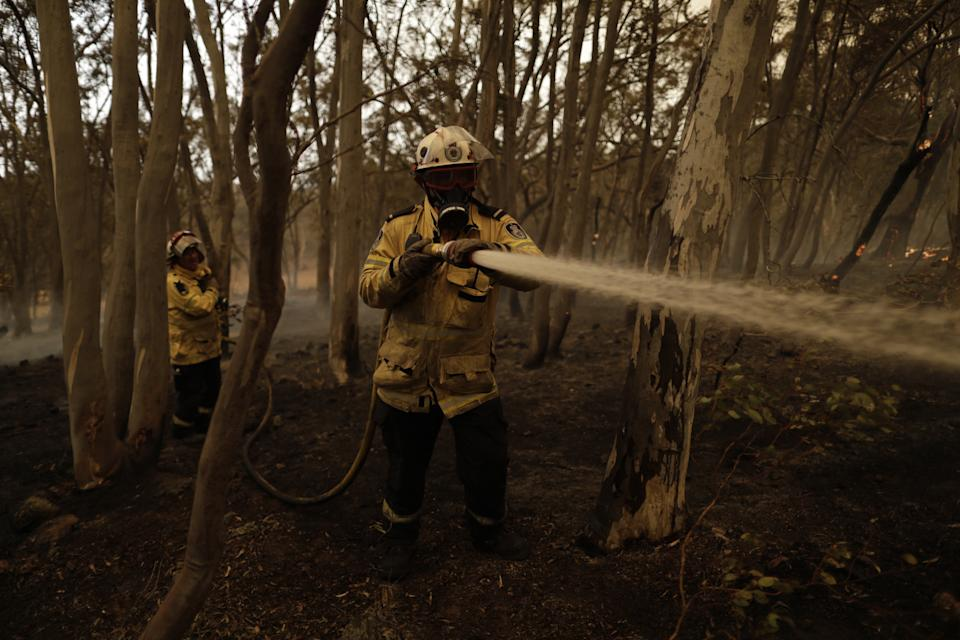 NSW RFS has confirmed all bush and grass fires in NSW have been contained. Pictured are firefighters holding a hose.