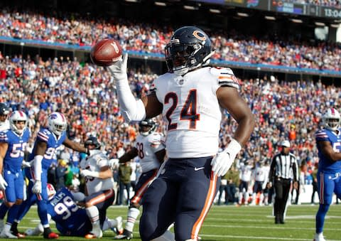 <span>Jordan Howard celebrates his first touchdown against the Bills last week</span> <span>Credit: Timothy T. Ludwig/USA Today </span>
