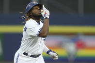 Toronto Blue Jays' Vladimir Guerrero Jr. celebrates his home run during the second inning of a baseball game against the Baltimore Orioles in Buffalo, N.Y., Thursday, June 24, 2021. (AP Photo/Joshua Bessex)