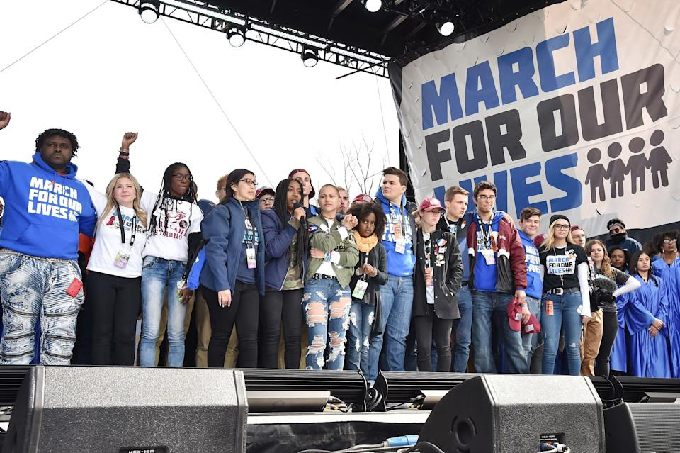 """Student organizers address the crowd at the March For Our Lives rally in Washington, D.C. The movement has helped""""rectify the structural imbalance that has favored the NRA,""""said Robert Spitzer,a professor at SUNY Cortland. (Photo: Kevin Mazur via Getty Images)"""