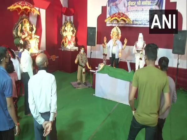 A COVID-19 hospital themed Ganesh pandal has been set up in Nagpur on the occasion of Ganesh Chaturthi celebrations. (Photo/ANI)
