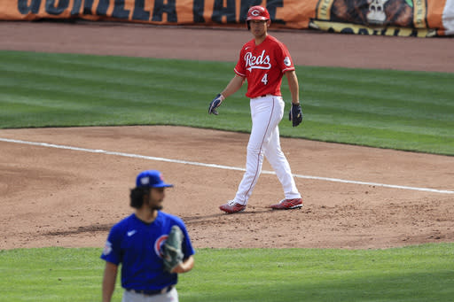 Cincinnati Reds' Shogo Akiyama (4) takes his lead from first base in the second inning during a baseball game against the Chicago Cubs in Cincinnati, Saturday, Aug. 29, 2020. (AP Photo/Aaron Doster)