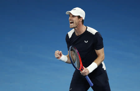 Tennis - Australian Open - First Round - Melbourne Arena, Melbourne, Australia, January 14, 2019. Britain's Andy Murray reacts during the match against Spain's Roberto Bautista Agut. REUTERS/Edgar Su