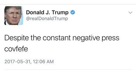 "A late night Tweet is seen from the personal Twitter account of U.S. President Donald Trump, May 31, 2017. The Tweet reads, ""Despite the constant negative press covfefe"".  Donald Trump/Twitter/Handout via REUTERS"
