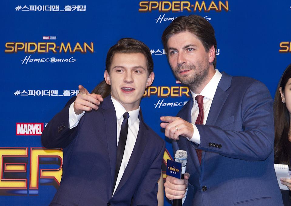 Tom Holland and Jon Watts attend the South Korea red carpet event for 'Spider-Man : Homecoming' on July 02, 2017. (Photo by Kim Jong Hyun/Anadolu Agency/Getty Images)