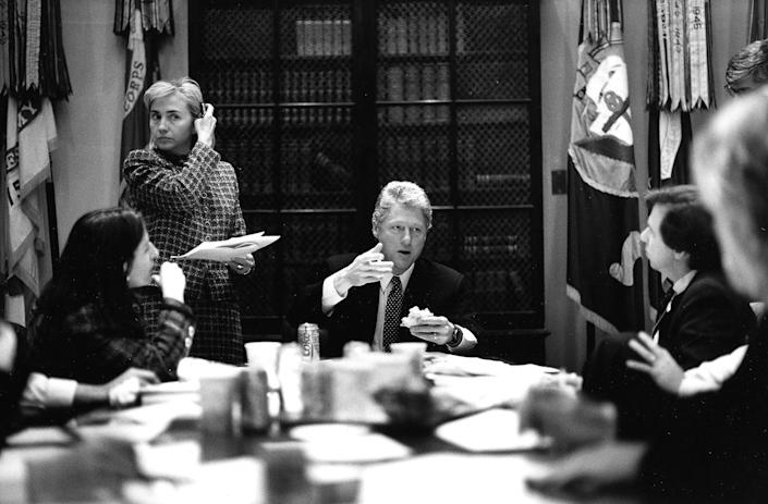 President Clinton and Hillary Clinton in a meeting about healthcare reform in the White House's Roosevelt Room. February 17, 1993.