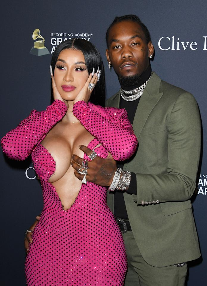 """Cardi B and Offset show their affections on the red carpet at Clive Davis' pre-Grammy Gala, which honored Sean """"Diddy"""" Combs, in Beverly Hills, on Saturday night."""