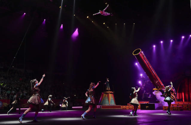 """<p>Nicole Sanders flies through the air after being shot from a cannon during a show, Thursday, May 4, 2017, in Providence, R.I. """"The Greatest Show on Earth"""" is about to put on its last show on earth. For the performers who travel with the Ringling Bros. and Barnum & Bailey Circus, its demise means the end of a unique way of life for hundreds of performers and crew members. (Photo: Julie Jacobson/AP) </p>"""