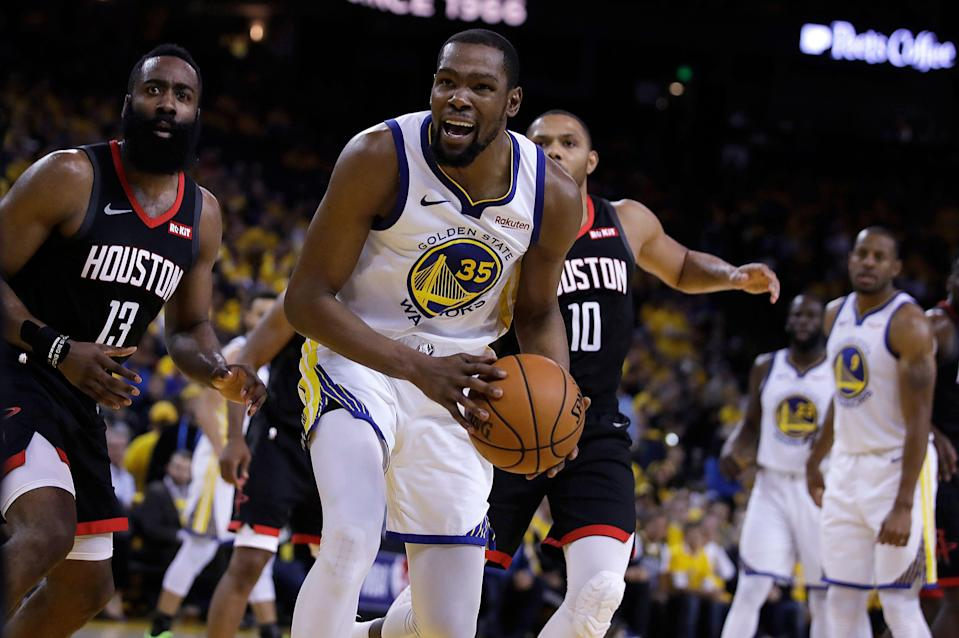 It sure sounds like we can expect Kevin Durant back for the NBA Finals. (AP)