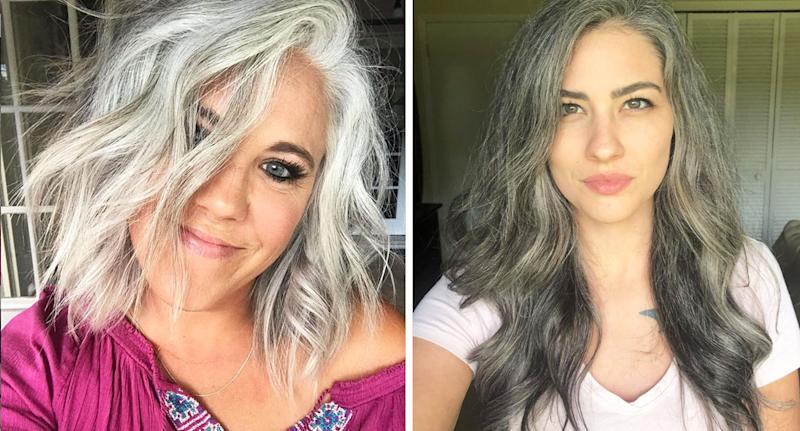 Grey hair: From left, Instagram influencers Jennifer Smith and Elizabeth embrace their naturally silver locks. [Photo: Instagram/@silverfox40tales, Instagram/@young_and_gray29]