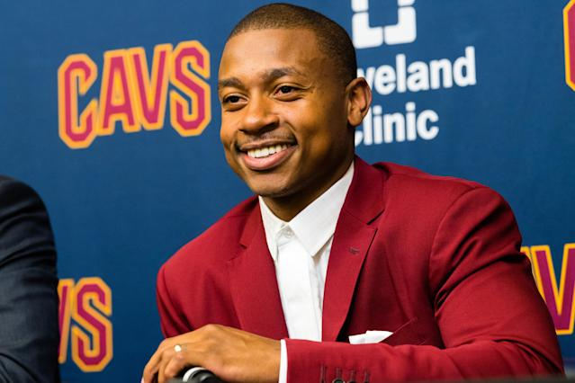 "<a class=""link rapid-noclick-resp"" href=""/nba/players/4942/"" data-ylk=""slk:Isaiah Thomas"">Isaiah Thomas</a> is working toward his debut with the Cavs. (AP)"