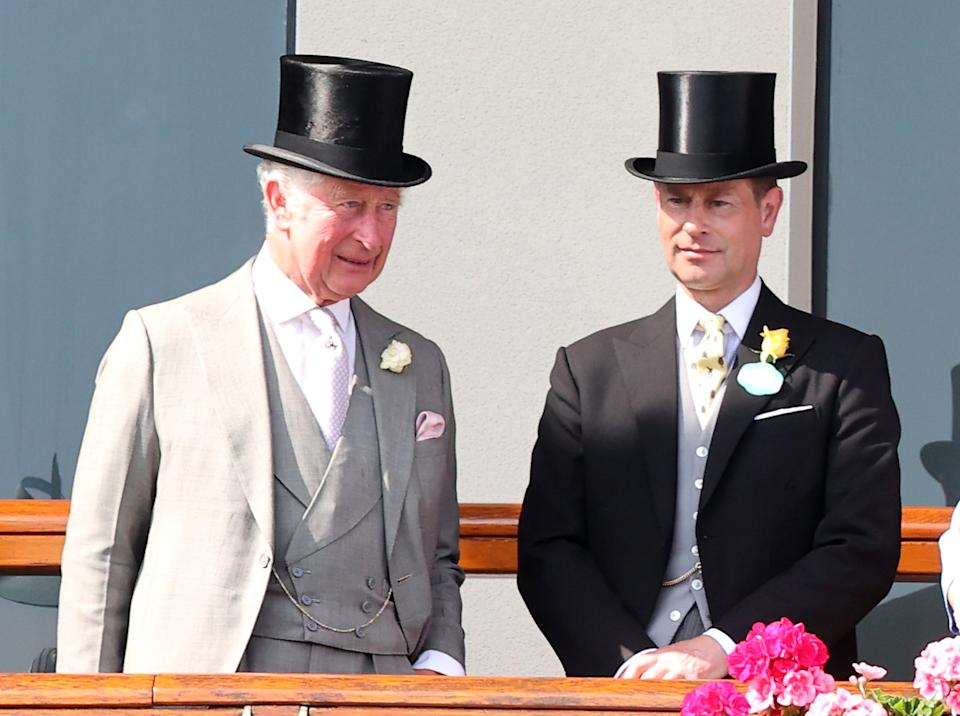 ASCOT, ENGLAND - JUNE 15: Prince Charles, Prince of Wales and Prince Edward, Earl of Wessex during Royal Ascot 2021 at Ascot Racecourse on June 15, 2021 in Ascot, England. (Photo by Chris Jackson/Getty Images)