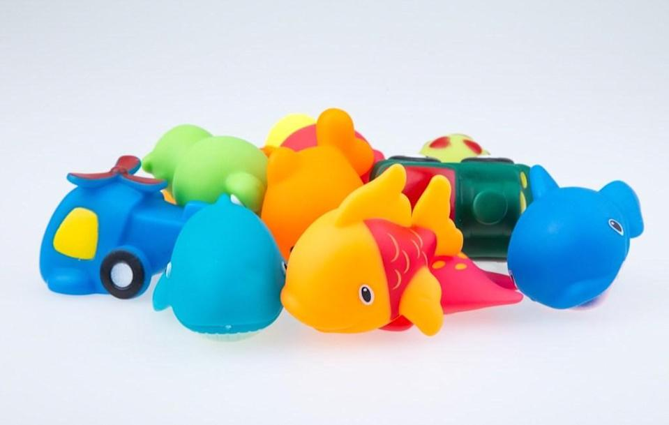 Bath toys—particularly waterlogged ones—can get moldy fast. Luckily, you can keep this from happening by emptying them after bath time and hanging them on your shower rod using curtain clips so that they dry out completely.