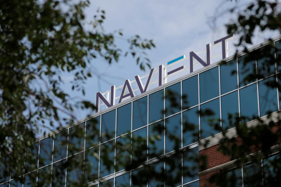 Signs can be seen at the Navient offices in Wilmington, Delaware, USA on June 9, 2021.  REUTERS / Andrew Kelly