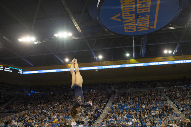UCLA Bruins' Katelyn Ohashi competes on floor during an NCAA college gymnastics meet against Arizona State Sun Devils in Los Angeles Monday, Jan. 21, 2019. (Photo by Kyusung Gong/Icon Sportswire via Getty Images)
