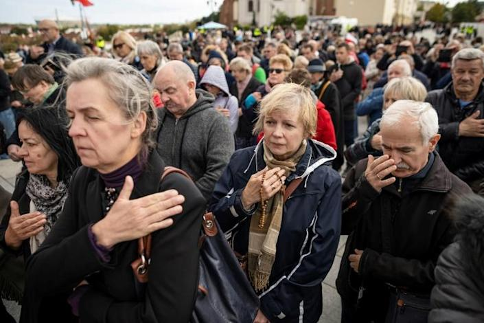People took part in a National Rosary March in Warsaw, where they prayed and tried to appease God for what they called desecrations and insults of the recent gay pride parades (AFP Photo/Wojtek RADWANSKI)