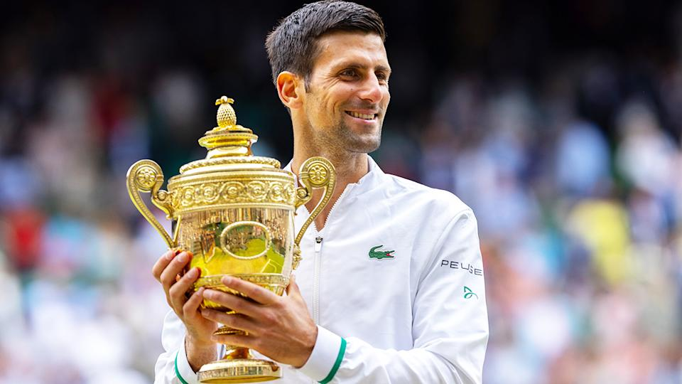 Novak Djokovic, pictured here with the trophy after winning Wimbledon.
