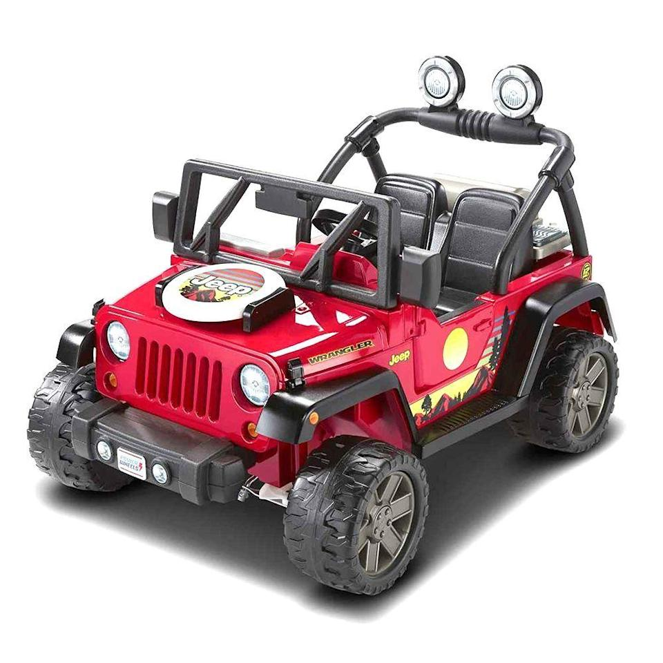 """<p><strong>Power Wheels</strong></p><p>amazon.com</p><p><strong>$299.10</strong></p><p><a href=""""https://www.amazon.com/dp/B084Q948NS?tag=syn-yahoo-20&ascsubtag=%5Bartid%7C2089.g.37132744%5Bsrc%7Cyahoo-us"""" rel=""""nofollow noopener"""" target=""""_blank"""" data-ylk=""""slk:Shop Now"""" class=""""link rapid-noclick-resp"""">Shop Now</a></p><p>For future little off-roaders and mudders, this Jeep by Power Wheels is basically a dream come true. It's rugged, it's durable, and it even has space for a few bumper stickers about #JeepLife. </p><p>This is a camping-themed Jeep with removable play grill, food pieces, and real grilling sounds. It goes 5 miles per hour in drive, half that in reverse, and seats two.</p>"""