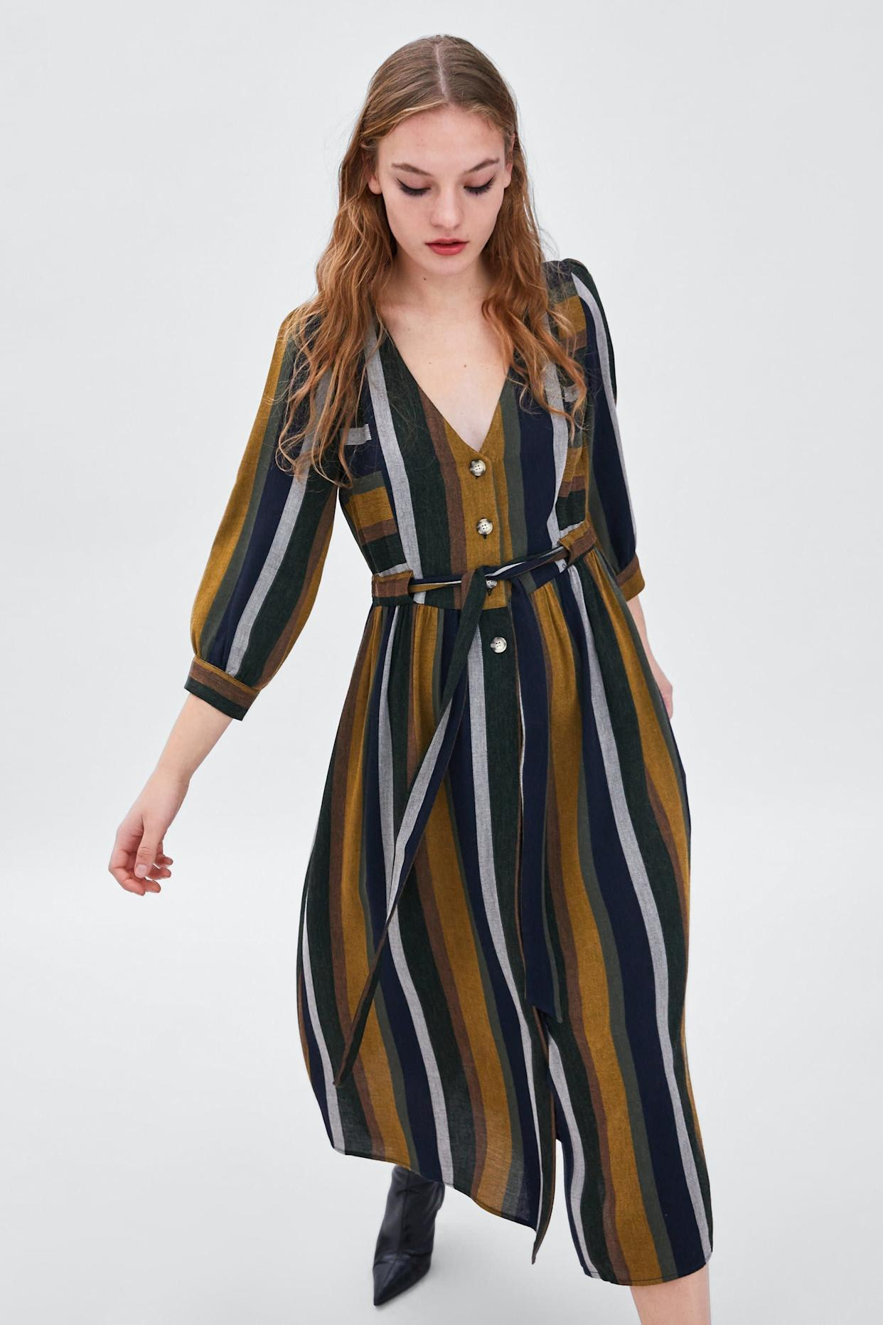 "<strong><a href=""https://www.zara.com/us/en/striped-dress-p08034113.html?v1=7686059&amp;v2=1074540"" rel=""nofollow noopener"" target=""_blank"" data-ylk=""slk:Zara striped dress"" class=""link rapid-noclick-resp"">Zara striped dress</a>, $69.90</strong>"