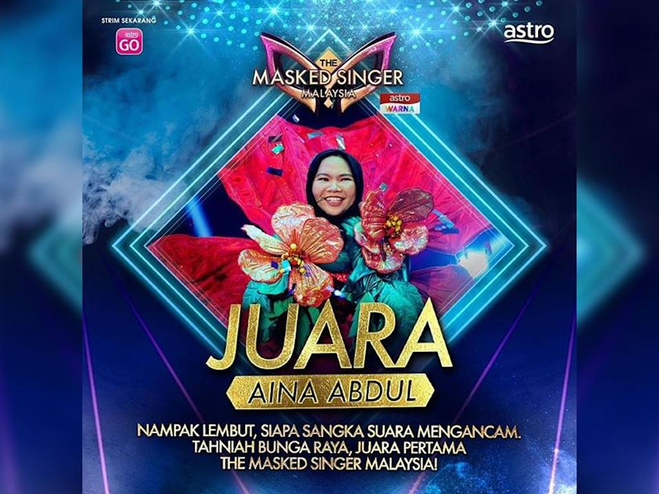 "Congratulations to Aina Abdul for winning the first season of ""The Masked Singer Malaysia""!"