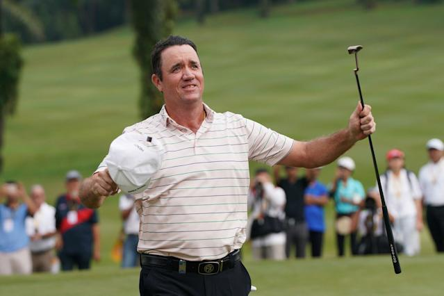 """<div class=""""caption""""> Scott Hend celebrates on the 18th hole during the final round of the 2019 Maybank Championship. </div> <cite class=""""credit"""">Allsport Co.</cite>"""