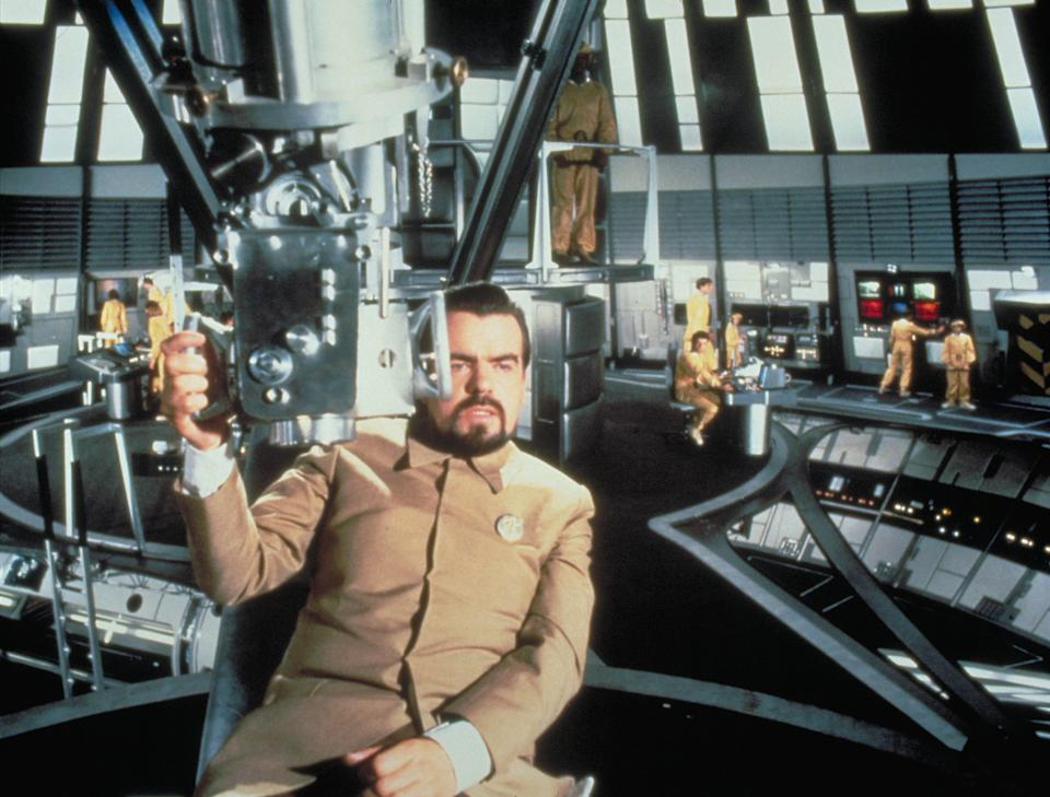 "Director Michael Lonsdale on the set of ""Moonraker"". (Photo by Sunset Boulevard/Corbis via Getty Images)"
