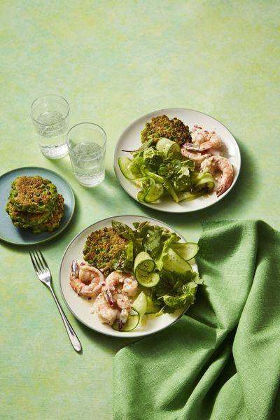"""<p>Shop for precooked and peeled shrimp to save yourself some time. For a completely no-cook options, skip the pea fritters and pair shrimp with a chopped salad or sliced cucumbers. </p><p><em><a href=""""https://www.womansday.com/food-recipes/food-drinks/a26730977/pea-fritters-with-shrimp-salad-recipe/"""" rel=""""nofollow noopener"""" target=""""_blank"""" data-ylk=""""slk:Get the recipe for Pea Fritters with Shrimp Salad"""" class=""""link rapid-noclick-resp"""">Get the recipe for Pea Fritters with Shrimp Salad</a></em></p>"""