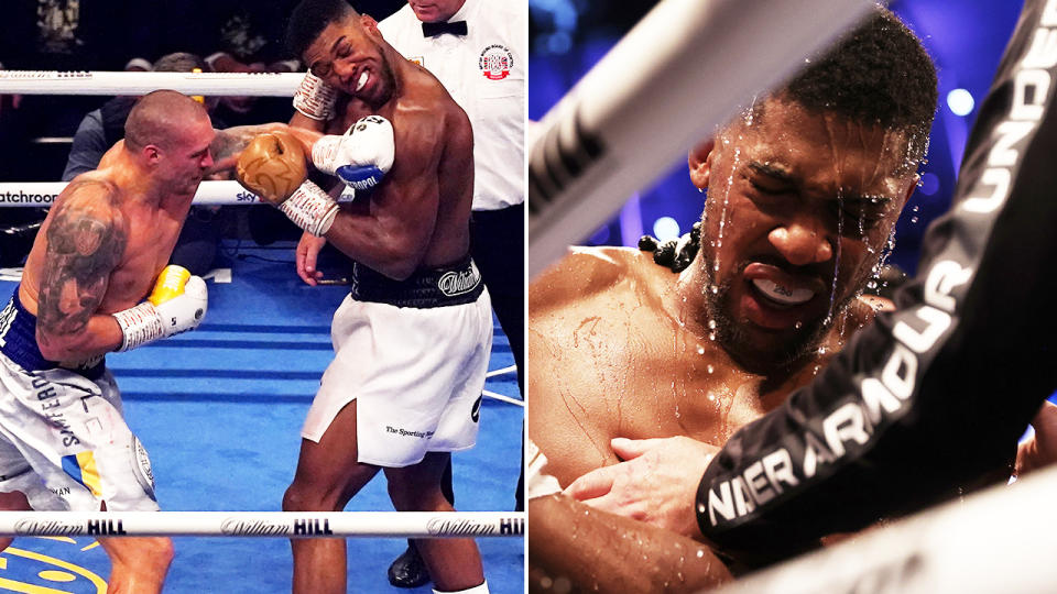 Anthony Joshua, pictured here suffering just his second loss in professional boxing.