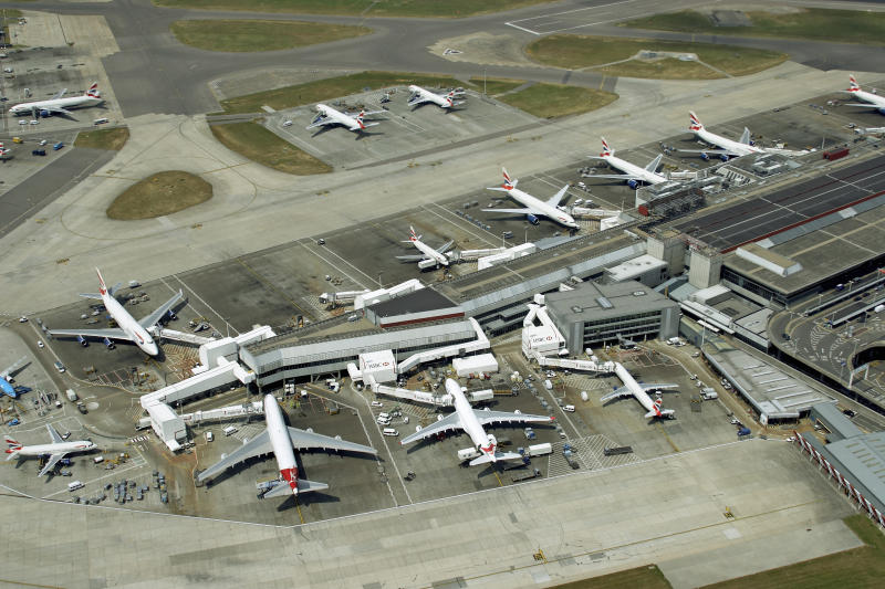 Several flights were delayed at the West London hub by up to an hour (stock picture, Getty)