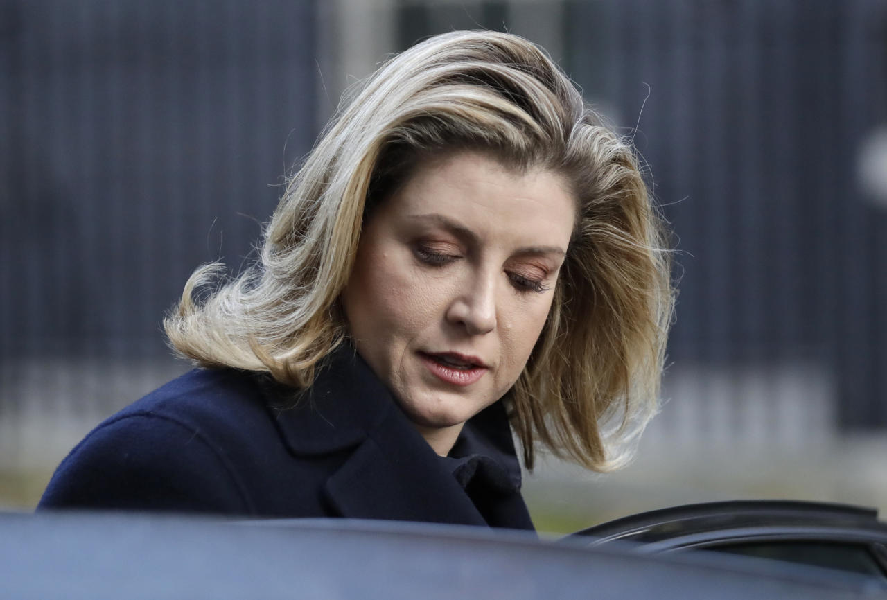Penny Mordaunt, Britain's Secretary of State for International Development leaves Downing Street after meeting with British Prime Minister Theresa May in London, Wednesday, Nov. 14, 2018. British Prime Minister Theresa May will try to persuade her divided Cabinet on Wednesday that they have a choice between backing a draft Brexit deal with the European Union or plunging the U.K. into political and economic uncertainty. (AP Photo/Matt Dunham)