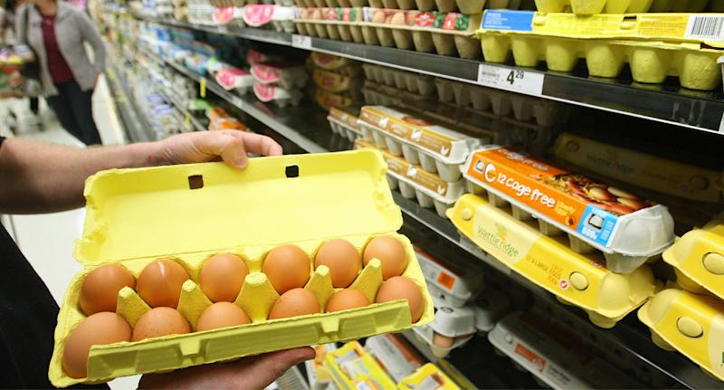 Woolworths cage free eggs seen on the supermarket shelf.