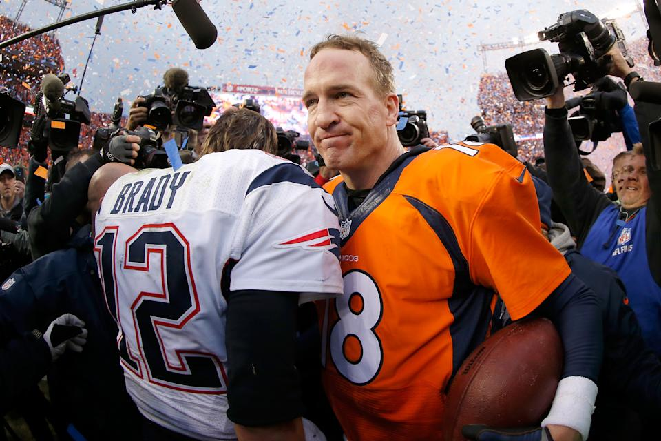 Peyton Manning and Tom Brady after the 2016 AFC Championship game.