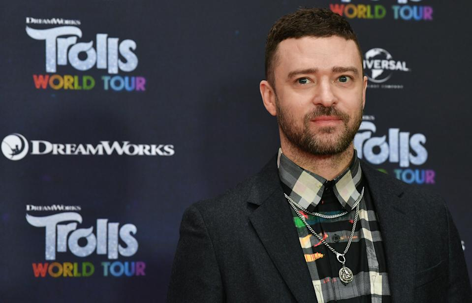 "17 February 2020, Berlin: Justin Timberlake, actor and musician, is at the photo shoot for the movie ""Trolls World Tour"" at the Hotel Waldorf Astoria. Photo: Jens Kalaene/dpa-Zentralbild/dpa (Photo by Jens Kalaene/picture alliance via Getty Images)"