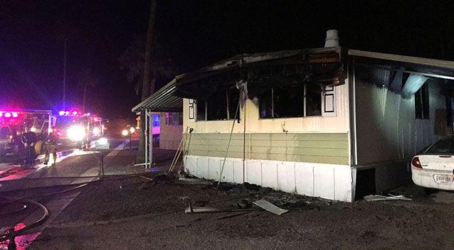 Firefighters suspect a resident used a propane blowtorch to burn spiders and spiderwebs from under the mobile home. Picture: Tucson Fire Department