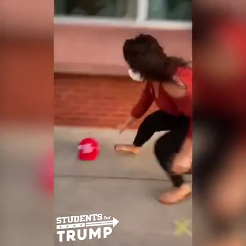 The video, posted by the Students for Trump Twitter account, appears to show two women taking a MAGA hat from a boy before getting into an altercation.