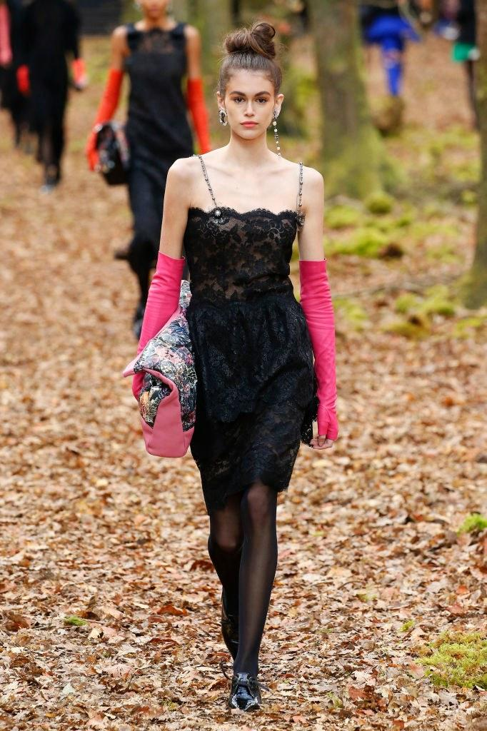 Kaia Gerber walks the runway during the Chanel Fall 2018 show as part of Paris Fashion Week on March 6, 2018 in Paris, France. Photo courtesy of Getty Images.