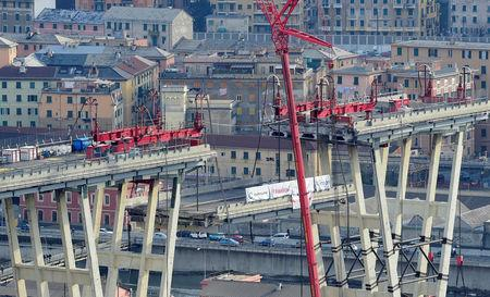 FILE PHOTO: A general view on the collapsed Morandi Bridge in Genoa, Italy, February 9, 2019.   REUTERS/Massimo Pinca/File Photo