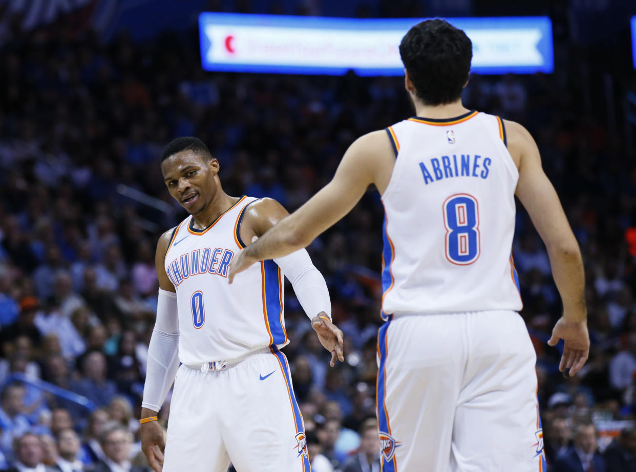 "<a class=""link rapid-noclick-resp"" href=""/olympics/rio-2016/a/1194323/"" data-ylk=""slk:Alex Abrines"">Alex Abrines</a>, who left the Thunder last season due to mental health issues, said <a class=""link rapid-noclick-resp"" href=""/nba/players/4390/"" data-ylk=""slk:Russell Westbrook"">Russell Westbrook</a> supported him completely throughout his battles in Oklahoma City. (AP/Sue Ogrocki)"